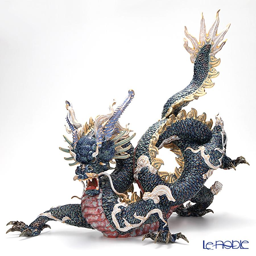 リヤドロ 臥龍(Blue&Gold) HIGH PORCELAIN 01934 台座付