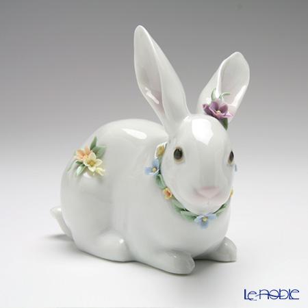 リヤドロ 花飾り 白ウサギ206098