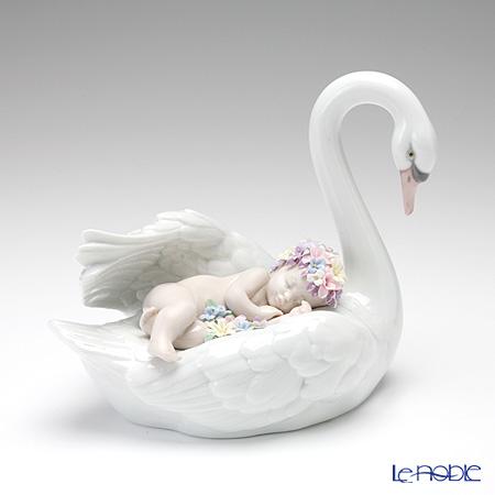 Lladro 'Drifting Through Dreamland (Sleeping on Swan with Flower)' 06758 Baby & Animal Figurine H16cm