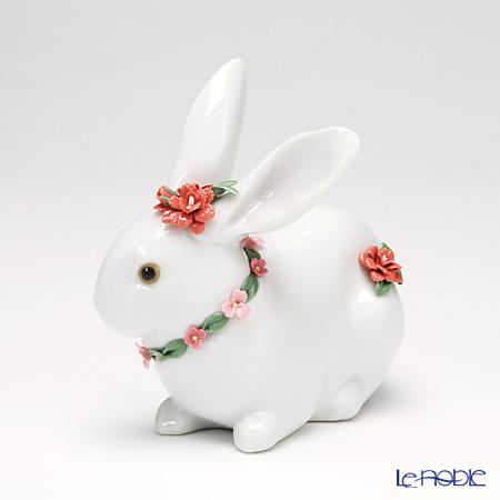 リヤドロ 花飾りの白ウサギ2(カーネーション) 07578