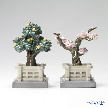 Lladro Hina dolls Japanese Tree Pots(Mandarin and Cherry) 8455
