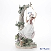 Lladro 'Swinging (Swing on Tree with Dog & Dove)' 09163 Woman & Animal Figurine H42.5cm