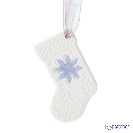 Lladro 'Christmas Stocking' White & Blue 18399 Ornament 10cm