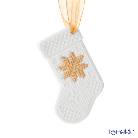 Lladro 'Christmas Stocking / Re-Deco' White & Gold 18400 Ornament 10cm