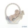 Lladro 'Newborn (Baby Sleeping in Basket)' Blue 18431 Boy Figurine H9.5cm