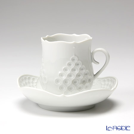 マイセン(Meissen) ホワイトレリーフ 000001/26581 モカカップ&ソーサー