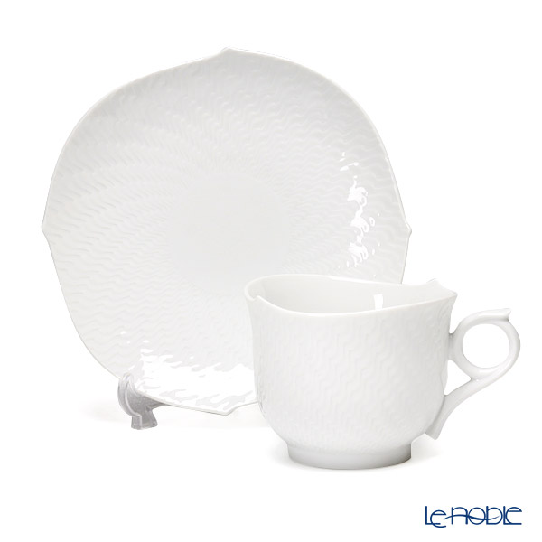 Meissen 'Waves Relief' White 000001/29586 Morning Cup & Saucer 360ml