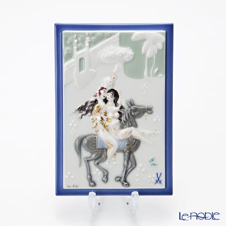マイセン(Meissen) 陶板 千夜一夜 930012/9p313 馬に乗る王子様と王妃 15×10cm