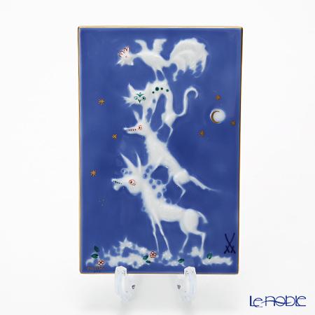 マイセン(Meissen) 陶板 青のメルヘン 930005/9p331 ブレーメンの音楽隊 13.5×7cm(額無)