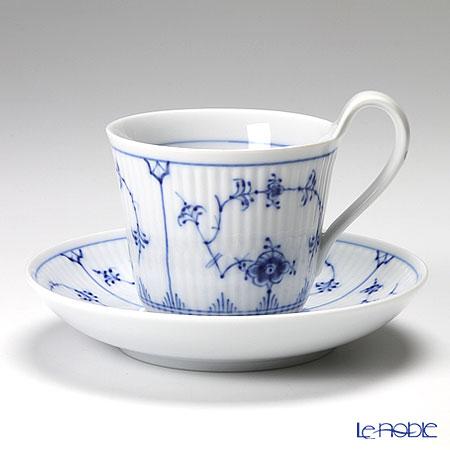 ロイヤルコペンハーゲン(Royal Copenhagen) ブルー フルーテッド プレイン ティーカップ&ソーサー(ハイハンドル) 240cc 1101092/1017176
