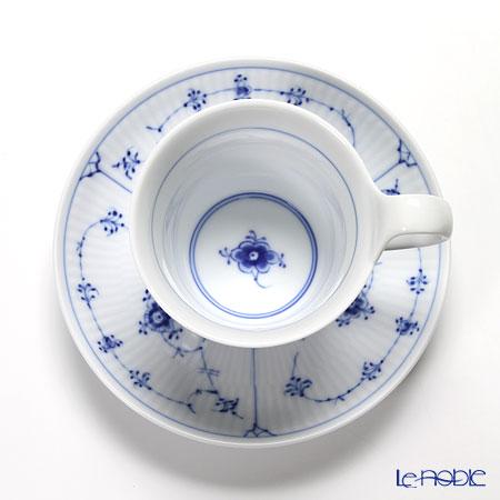 ロイヤルコペンハーゲン(Royal Copenhagen) ブルー フルーテッド プレインティーカップ&ソーサー(ハイハンドル) 240cc 1101092/1017176