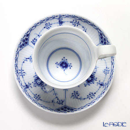 Royal Copenhagen 'Blue Fluted Half Lace' High handle Cup & Saucer 170ml 1102095