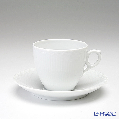 Royal Copenhagen White Fluted Half Lace Cup & saucer 17 cl, coffee 1128071