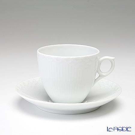 ロイヤルコペンハーゲン(Royal Copenhagen) ホワイト フルーテッド ハーフレース コーヒーカップ&ソーサー 170cc 1128071/1017276