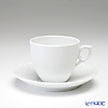 ロイヤルコペンハーゲン(Royal Copenhagen) ホワイト フルーテッド ハーフレースコーヒーカップ&ソーサー 170cc 1128071