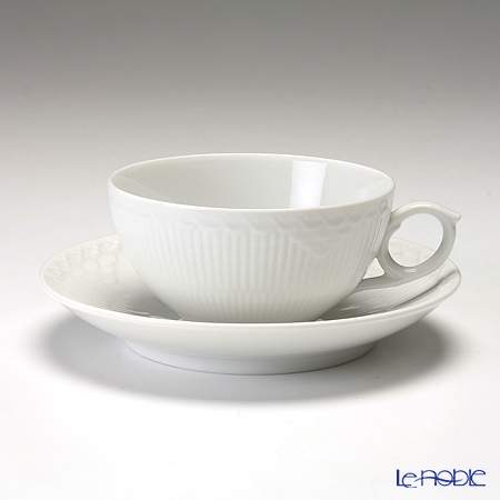 Royal Copenhagen 'White Fluted Half Lace' Tea Cup & Saucer 200ml 1128080