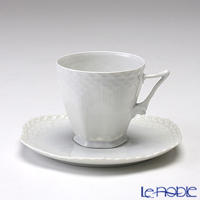 ロイヤルコペンハーゲン(Royal Copenhagen) ホワイト フルーテッド フルレース コーヒーカップ&ソーサー 140cc 1132068/1052691
