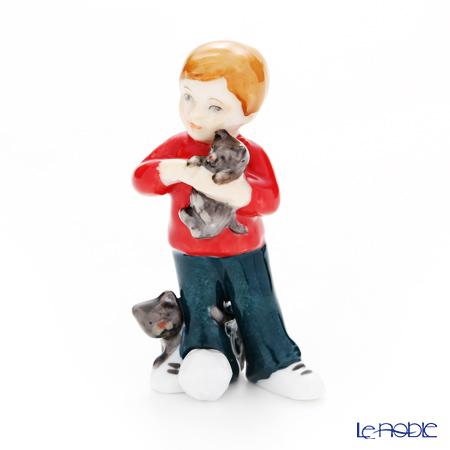 ロイヤルコペンハーゲン(Royal Copenhagen) フィギュリン 可愛い仲間 男の子と猫(立ち) 7.5cm 1249123