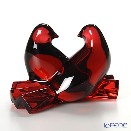 Baccarat 'Colombes - Saint Valentin Doves (Bird)' Red 2102796 Animal Figurine H6.5cm