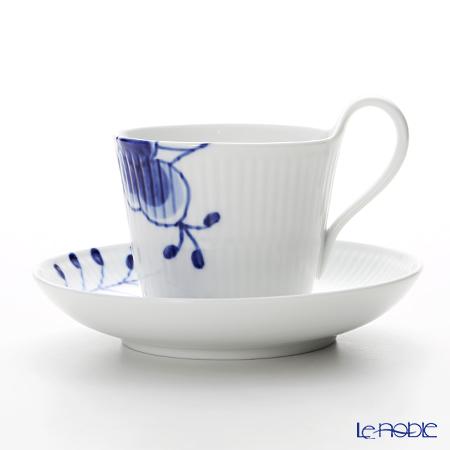 ロイヤルコペンハーゲン(Royal Copenhagen) ブルー フルーテッド メガ ティーカップ&ソーサー(ハイハンドル) 240cc 2382092/1016909