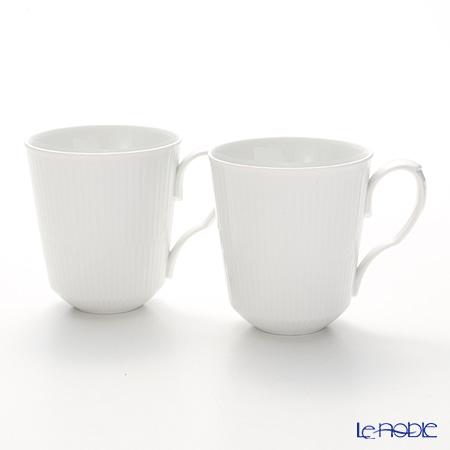 Royal Copenhagen White Fluted Plain Mug, 2-pack, 37 cl 2408043