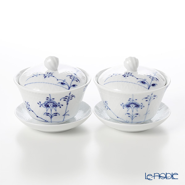 Royal Copenhagen 'Blue Palmette' 2500062/1016956 Tea Cup & Saucer with lid 210ml (set of 2)