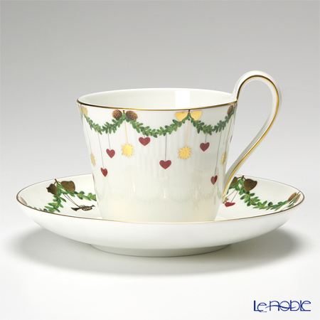 Royal Copenhagen Star Fluted Christmas High handle cup & saucer 2503091