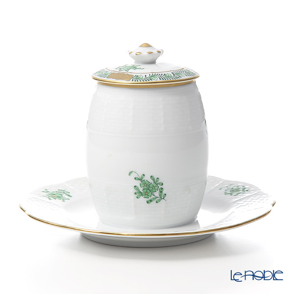 Herend Chinese Bouquet Green / Apponyi Vert AV 00242-7-15 Mustard Pot (Button)