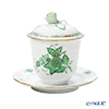 Herend 'Chinese Bouquet Green / Apponyi' AV 00372-0-09 Jam Pot (Rose knob)