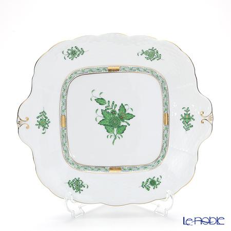 ヘレンド アポニーグリーン 00431-0-00/431 四角ケーキ皿 28×25cm