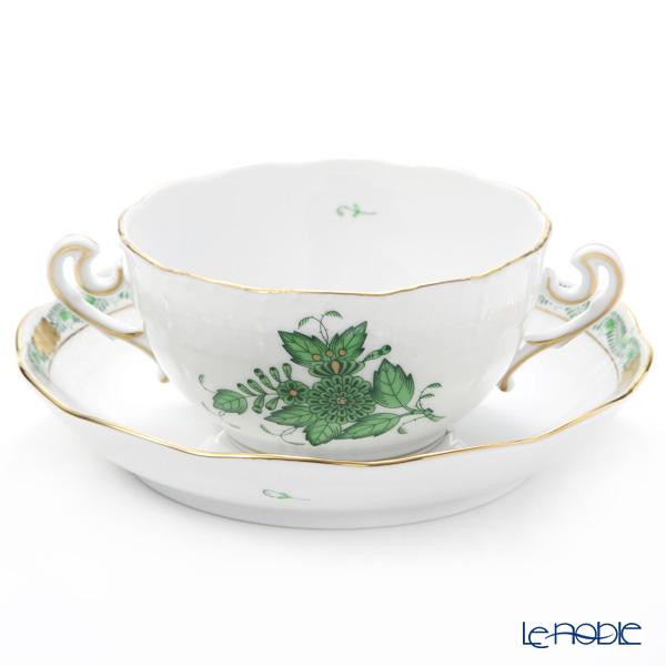 ヘレンド アポニーグリーン スープカップ&ソーサー 180cc 00718-0-00/702