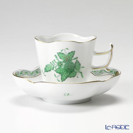 ヘレンド アポニーグリーン 04198-0-00/4198コーヒーカップ&ソーサー(楕円) 100cc