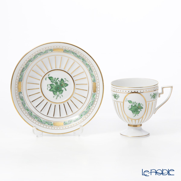 Herend 'Chinese Bouquet Green / Apponyi' AV 04467-0-00 Chocolate Cup (footed) & Saucer