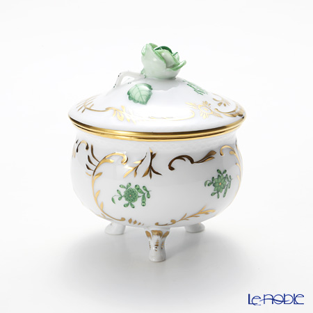 Herend 'Chinese Bouquet Green / Apponyi' AV 06040-0-09 Footed Round Box (Rose knob) 8xH9.5cm