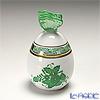 Herend 'Chinese Bouquet Green / Apponyi' AV 06043-0-17 Standing Egg Box (Butterfly knob) H9cm
