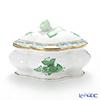 Herend 'Chinese Bouquet Green / Apponyi' AV 06058-0-09 Oval / Clover Bononniere (Rose knob) 13.7x10.5xH9cm