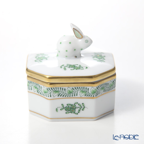 ヘレンド アポニーグリーン 06104-0-25オクタゴナルボックス(ウサギ)