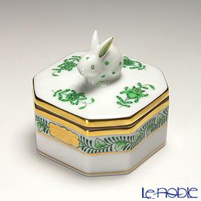 ヘレンド アポニーグリーン 06105-0-25 オクタゴナルボックス(ウサギ)