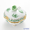 Herend 'Chinese Bouquet Green / Apponyi' AV 06179-0-09/6179 Footed Square Bononniere (Rose knob) 7xH7.5cm
