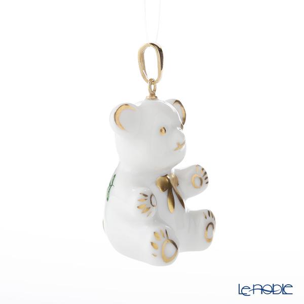 Herend 'Chinese Bouquet Green / Apponyi' AV 15369-0-47 Teddy Bear Pendant Top H3.2cm
