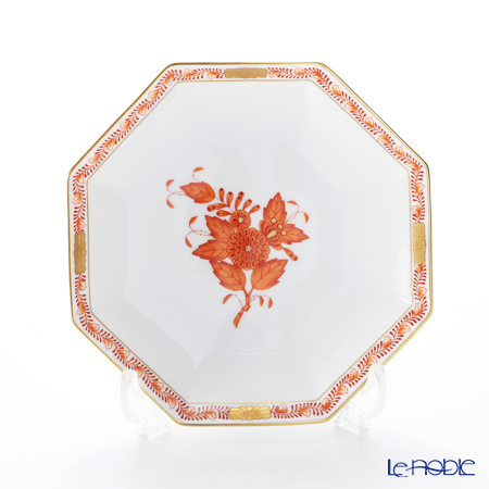 Herend Apponyi / Chinese Bouquet - Orange Octagonal Small Plate 13.5 cm, AOG 04304-1-00