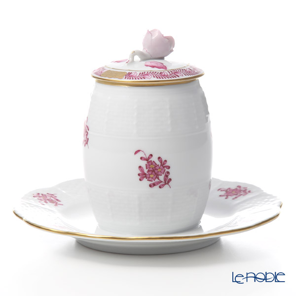Herend 'Chinese Bouquet Pink / Apponyi' AP 00242-7-00 Mustard Pot (Rose knob)