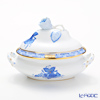 Herend 'Chinese Bouquet Blue / Apponyi' AB 06017-0-09/6017 Mini Tureen / Oval Box (with handles, Rose knob) 13.5x9xH9.5cm