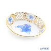 Herend 'Chinese Bouquet Blue / Apponyi' AB 07353-0-00 Oval Basket (openwork) 13.5x9.5cm
