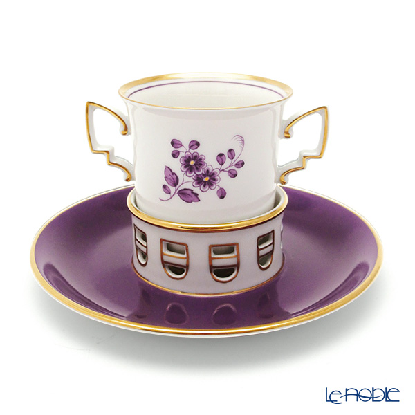 [Advance Sale] Augarten [300th Anniversary] 'Leopold' Purple Chocolate Cup & Saucer 200ml