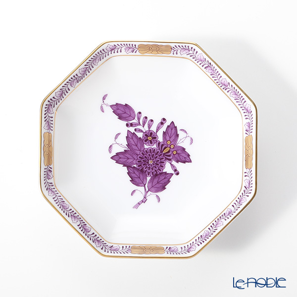 Herend Chinese Bouquet Lilac / Apponyi Lilas AL 04307-1-00 Octagonal Plate 10cm