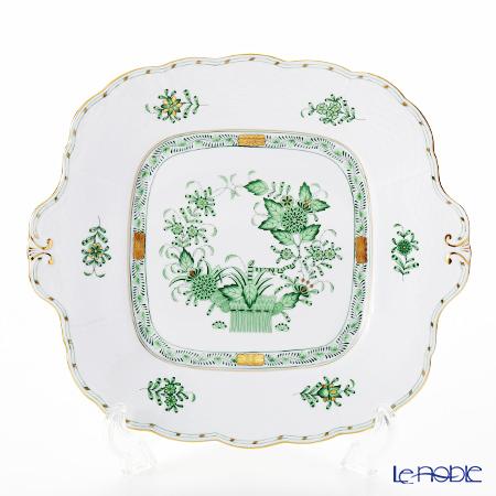 ヘレンド インドの華グリーン 00431-0-00 四角ケーキ皿 28×25cm