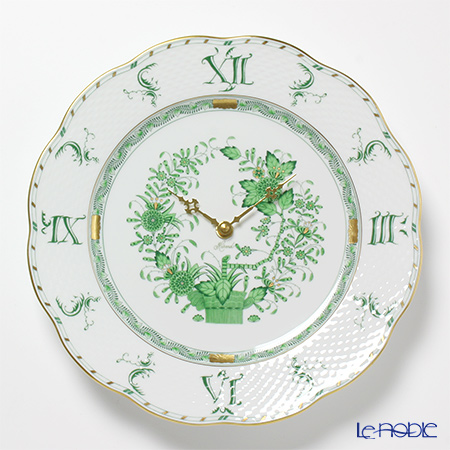 ヘレンド インドの華グリーン 00527-0-47Sウォールクロック 28cm