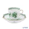 Herend 'Indian Basket Green / Fleurs des Indes' FV 04304-0-00 Octagonal Mocha Coffee Cup & Saucer