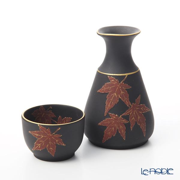 Wedgwood 'Jasperware - Black' Red Autumn Leaf / Momiji Sake Bottle, Sake Cup (set of 2 for 1 person)